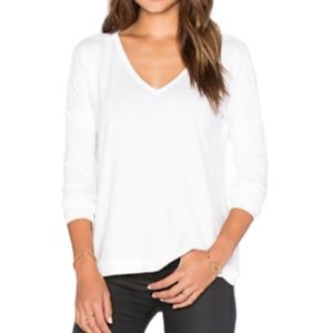 Rag and bone white v neck long sleeve top
